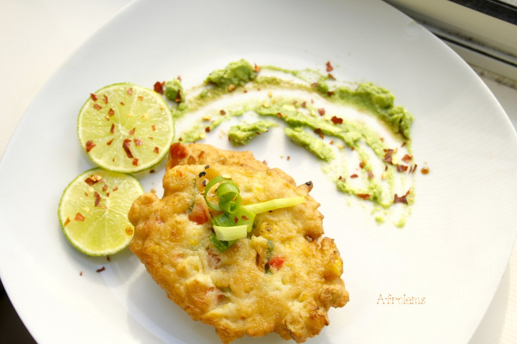 homepage corn recipes suya corn fritters and spicy avocado