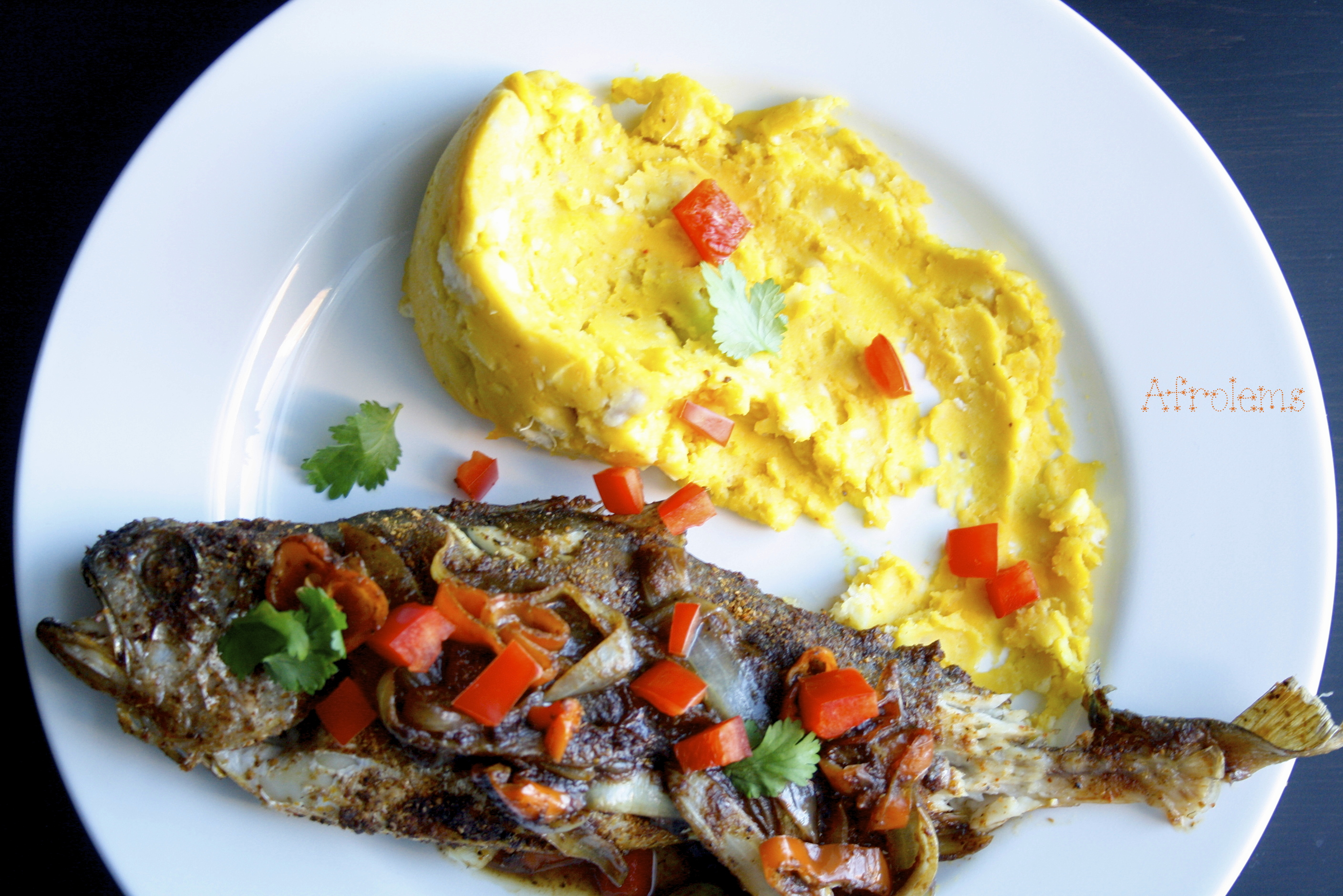 Spicy croaker fish and mashed yam for Croaker fish recipe