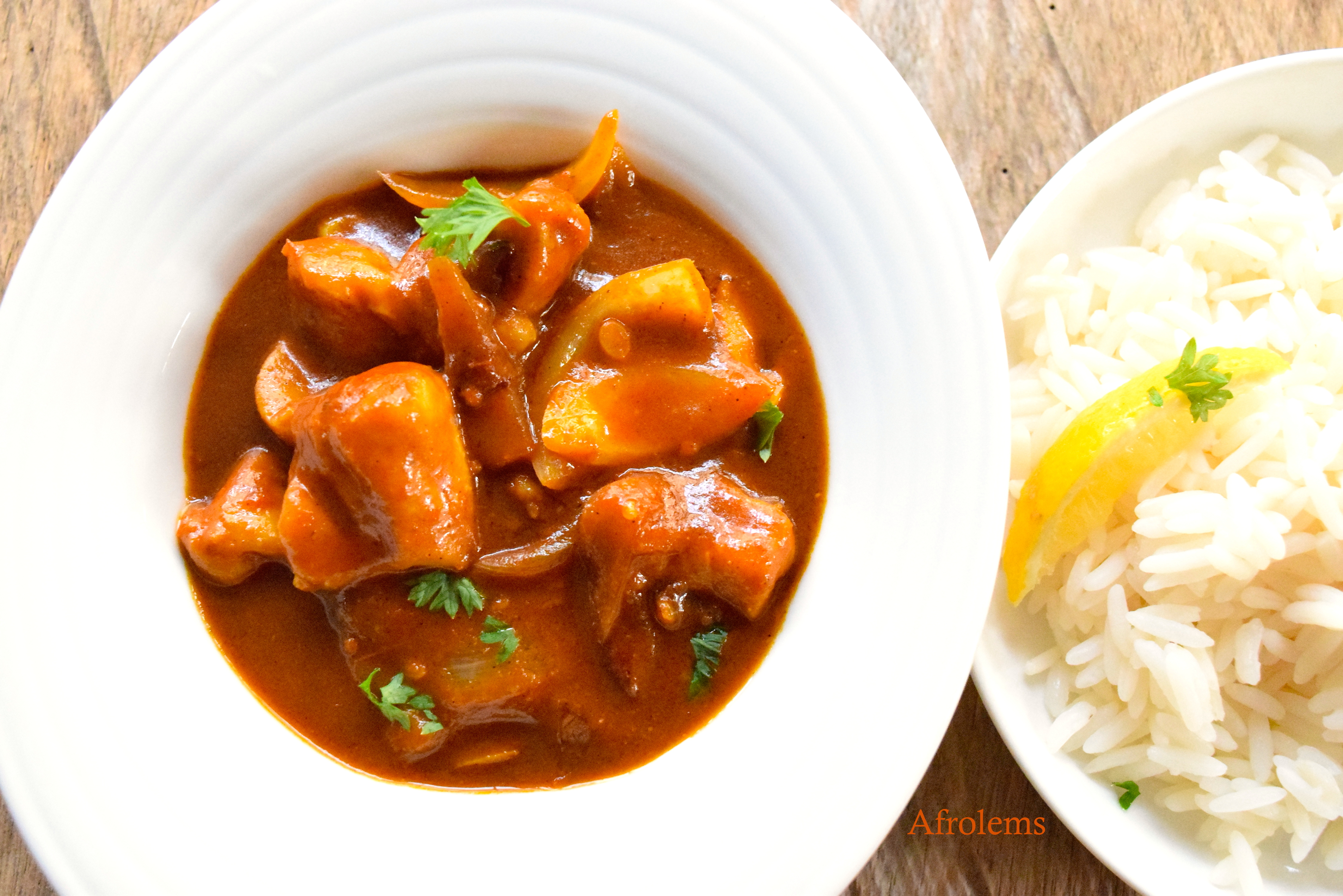 Tomato Chicken Curry With Rice Afrolems Nigerian Food Blog